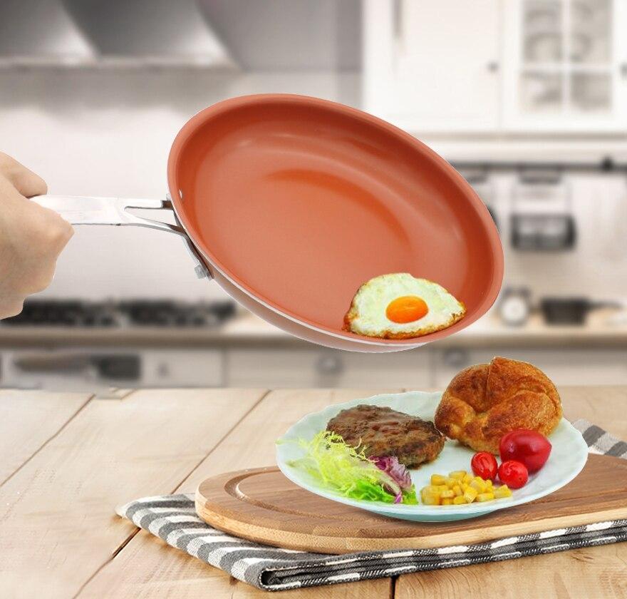 Антипригарным Медь сковорода 11 дюймов Кухонная посуда печи и мыть в посудомоечной машине Керамика сковороде красный Кастрюли сковороде медь кастрюля