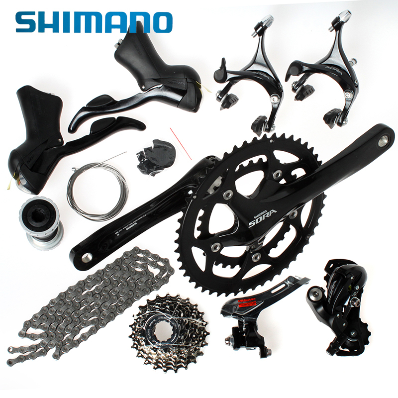SHIMANO Road Bike Bicycle Group Set Groupset Sora 3500 9-Speed Black shimano road bike bicycle group set groupset sora 3500 9 speed black