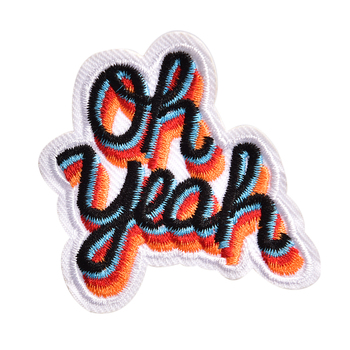 DIY Iron On Embroidered Patch Applique Label Clothes Stickers Oh yeah image