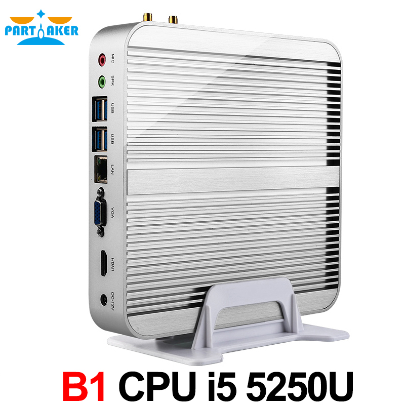 Partaker Broadwell PC Win10 Fanless Mini PC Core I5 5250U 4K HTPC Graphics 6000 HDMI VGA 300M Wifi HTPC NUC Computer