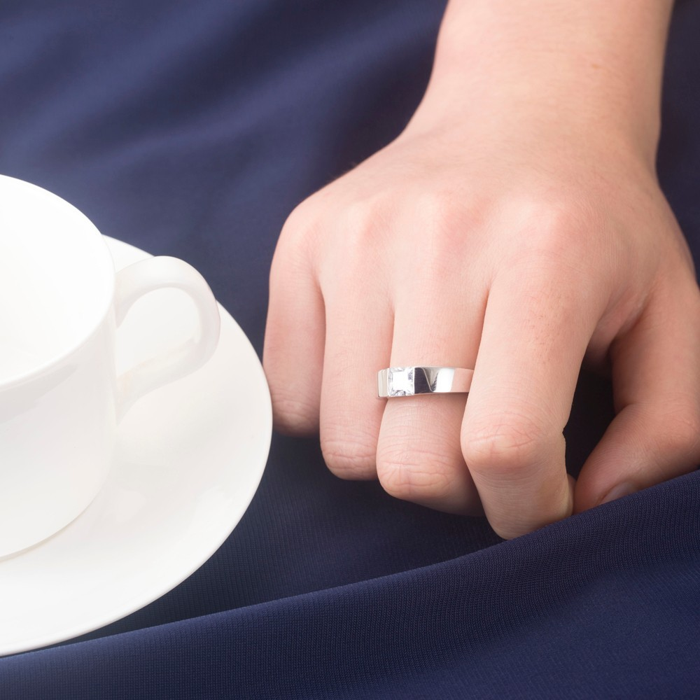 585 White Gold Ring 1Ct Princess Cut Certified Tested Positive Men\'s ...