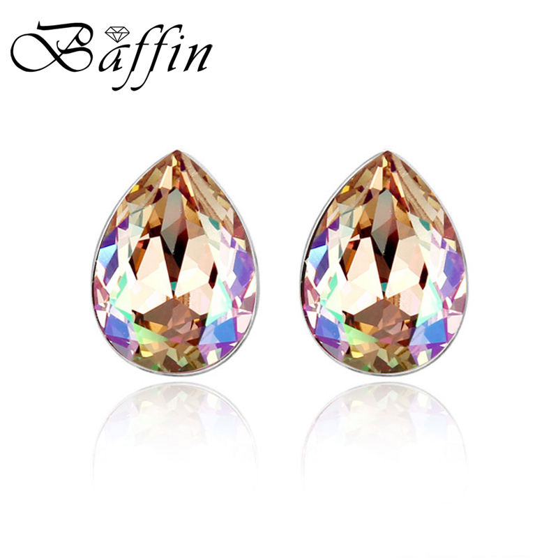BAFFIN Mini Oval Crystal From Austria Stud Earrings Piercing Jewelry Silver Color Fashion Joyas For Women Wedding Accessories baffin crystal aurore boreale page 2