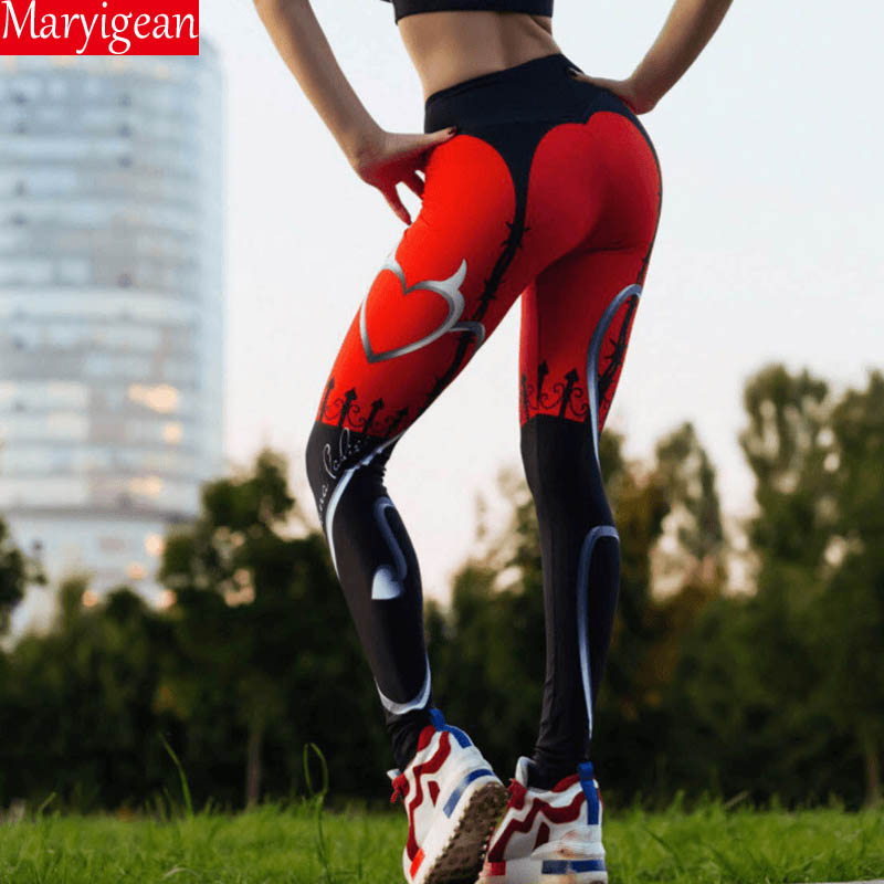 Maryigean High Waist Fitness Legging Women Heartbeat Print Fashion Push Up Sexy Ankle-Length Pants Elasticity Leggings Women