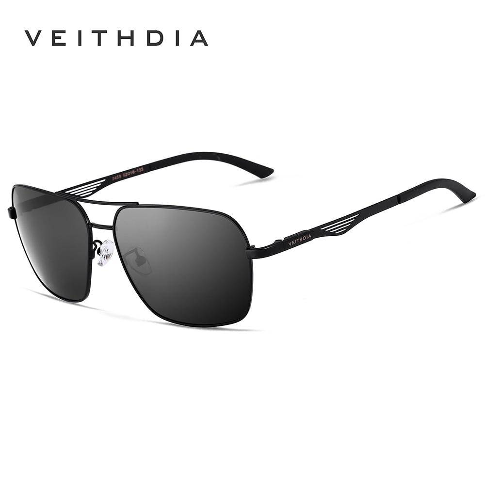 VEITHDIA Men s Polarized Sunglasses Designer Vintage Square for Men Driving Black Glasses masculino oculos sunglass
