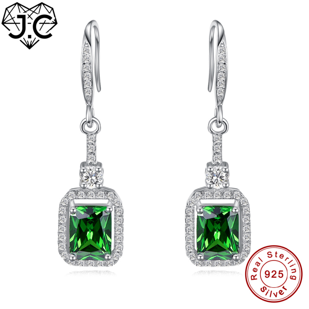 J.C Excellent Emerald & White Topaz Fine Jewelry Earrings Genuine 925 Standard Sterling Silver Earrings For Women Party Dating J.C Excellent Emerald & White Topaz Fine Jewelry Earrings Genuine 925 Standard Sterling Silver Earrings For Women Party Dating