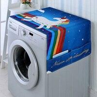 Cartoon Regenboog Paard Wasmachine Deksel Koelkast Deksel Magnetron Katoen Linnen Waterdicht Cover-in Wasmachine-afdekkingen van Huis & Tuin op