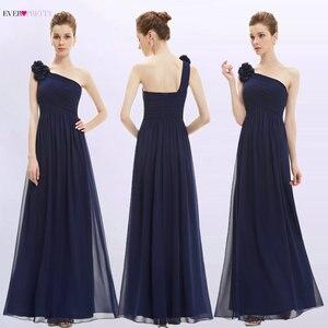 Image 4 - ארוך שושבינה שמלות אי פעם די EP08237 נשים של אחת כתף פרחוני מרופד vestidos שיפון שמלות למסיבת חתונה