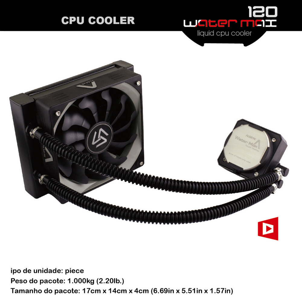 ALSEYE CPU Water Cooler PWM 120mm Fan Water Cooling Radiator TDP 280W Aluminum Heatsink cpu fan for AM4 / e5450 / i7 6400t for asus u46e heatsink cooling fan cooler