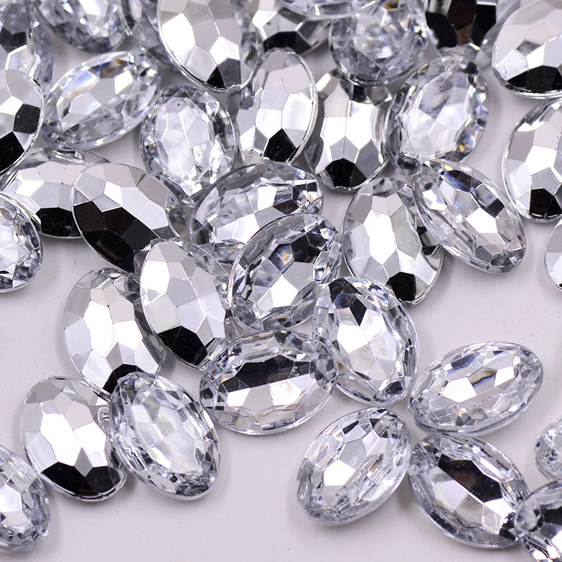 JUNAO 13 18mm Oval Shape Crystal AB Rhinestones Applique Pointback Acrylic  Stones Beads Strass Crystals For Jewel Scrapbooking-in Rhinestones from Home  ... 935e1f3bc182