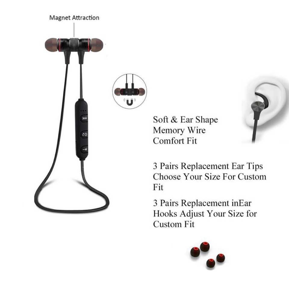 Bezprzewodowe słuchawki Bluetooth metalowe słuchawki Stereo słuchawki basowe bezprzewodowy zestaw słuchawkowy Sport słuchawki douszne z mikrofonem