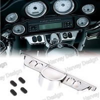 Chrome Switch Dash Panel Accent Cover For Harley Street Glide 06 13 Triks 09 13 Electra Glide 96 13