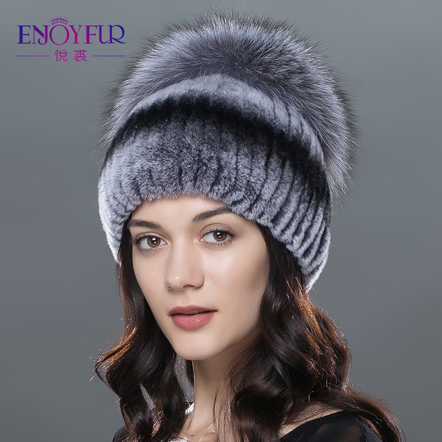 ENJOYFUR Mulheres chapéus de pele de inverno genuína pele de coelho rex gorro de pele de raposa de prata de alta qualidade de malha gorros de pele