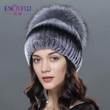 ENJOYFUR Vrouwen bont hoeden voor winter echte rex konijn fur silver fox fur cap hoge kwaliteit gebreide bont mutsen