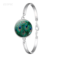 Peacock Feathers Charm Glass Cabochon Bangle Art Pictures Bracelet Colorful Feather Punk Womens Accessories