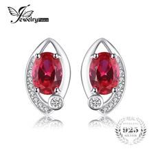 Jewelrypalace ojo 2.3ct creado rojo rubí stud pendientes plata de ley 925 encanto de la vendimia de marca de moda 2016 nueva joyería fina
