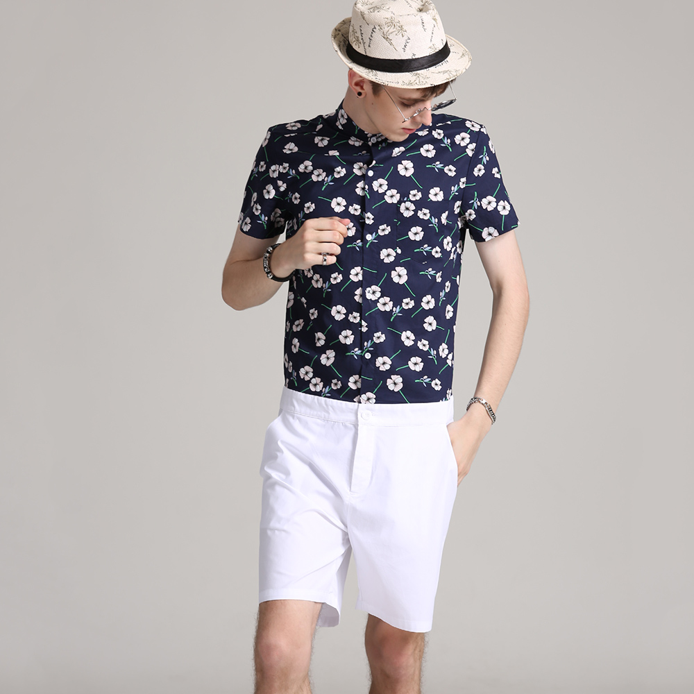 Men Romper Hip-Hop Short Sleeve Flower Boyfriend Romper Playsuit Heren Overalls One Piece Jumpsuit Mameluco Hombre