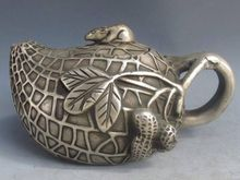Old Antique Tibet Silver Bronze Peanut Shape Teapot & Mouse Lid w Qianlong Mark