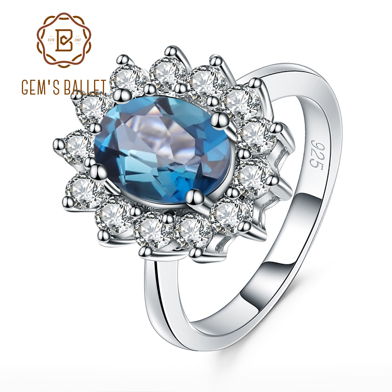 GEM'S BALLET 1.57Ct Oval Natural London Blue Topaz Gemstone Ring Real 925 Sterling Silver Wedding Rings for Women Fine Jewelry