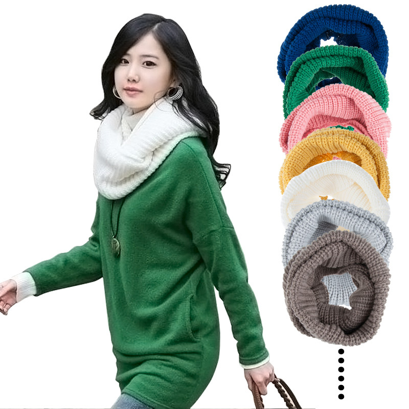 Fashion Style Unisex Winter Knitting Wool Collar Neck Warmer Woman Ring Scarf Shawl Scarves In