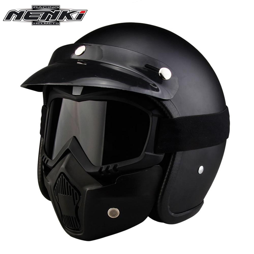 NENKI Retro Vintage German Style Motorcycle Helmet 3/4 Open Face Helmet Scooter Chopper Cruiser Moto Helmet DOT Glasses Mask