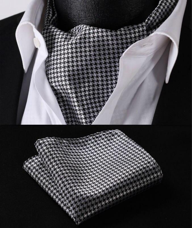 Rc102l noir poule soie tissée Cravat Ascot Hanky mouchoir Set