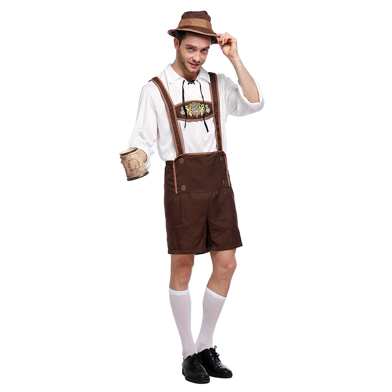 Costumes Adult Men Beer Festival Brown and White Suspenders+Top+Hat Suit National Costumes Oktoberfest Event Cosplay Costumes