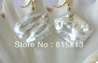 FREE SHIPPING Wb00350 Stunning Big 25mm Baroque White Freshwater Pearl Dangle Earrings 14K