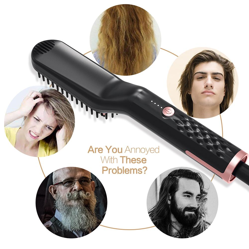 Beard Straightener For Men Multifunctional Hair Style Electric Hot Comb And Beard Straightening Brush Hair Straightening Comb in Combs from Beauty Health