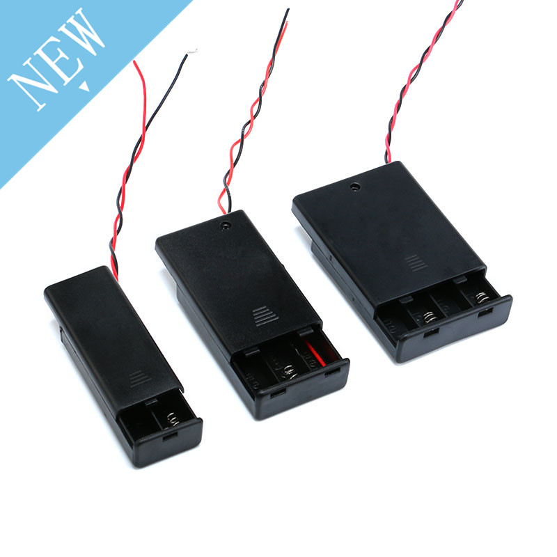 New 2 /3/4* AAA Battery Storage Case Box Holder For AAA Batteries With ON/OFF Switch & Wire Leads DIY