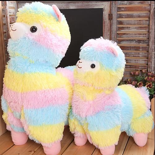 1 punid 45 cm Arco Iris Alpaca de peluche de juguete Vicugna Pacos japonés de felpa suave alpacaso oveja Llama peluche regalos para niños y niñas