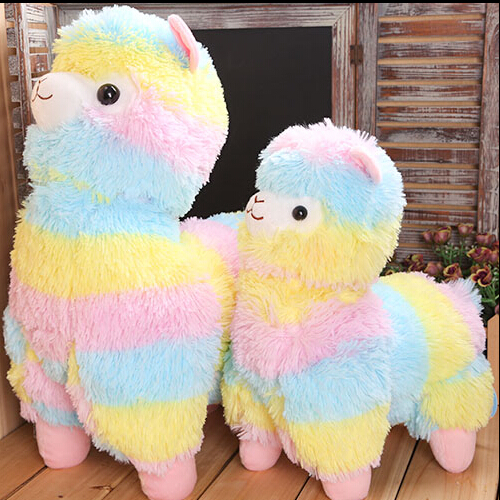 1pc 45cm Rainbow Alpaca Plush Toy Vicugna Pacos Japanese Soft Plush Alpacasso Sheep Llama Stuffed Toy Gifts for kids and Girls hot 45cm good night alpaca toys japan amuse alpacasso arpakasso plush stuffed doll kids alpaca christmas gifts toy 5styles