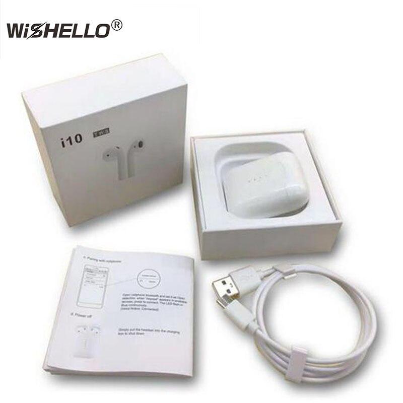 WiSHELLO i10-tws bluetooth sans fil 5.0 Écouteurs ture stéréo tactile sans fil Écouteurs soutien sans fil chargeur pour xiaom