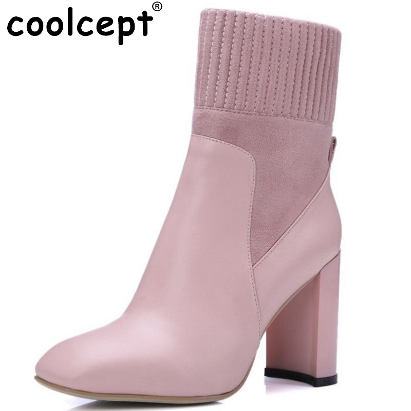 Brand New Woman Real Genuine Leather Square Heel Half Short Boots Women Retro Square Toe Heeled Shoes Footwear Size 34-39