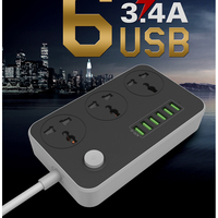 New 6 USB Charging Ports 3 4A Power Strip Power Charger Dock Plug US UK EU