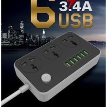 New 6 USB Charging Ports 3.4A Power Strip Power Charger dock Plug US/UK/EU Plug Multi Adapter Smart USB Charger