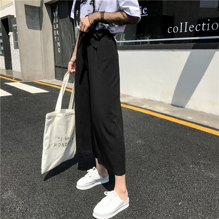 19 Women Casual Loose Wide Leg Pant Womens Elegant Fashion Preppy Style Trousers Female Pure Color Females New Palazzo Pants 32