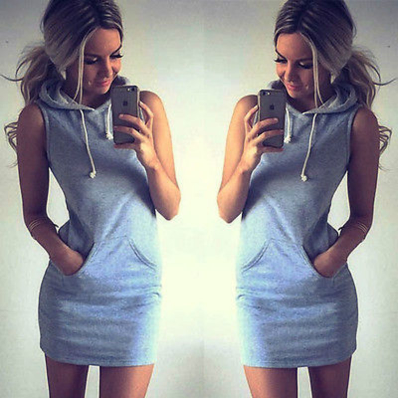 Aliexpress.com : Buy New Fashion Women Sleeveless Hoodies Dress ...