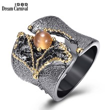 DreamCarnival 1989 New Arrival Fissure Rings for Women Split On Top Black Gold Color with Light Brown CZ Stone Wholesale WA11609(China)