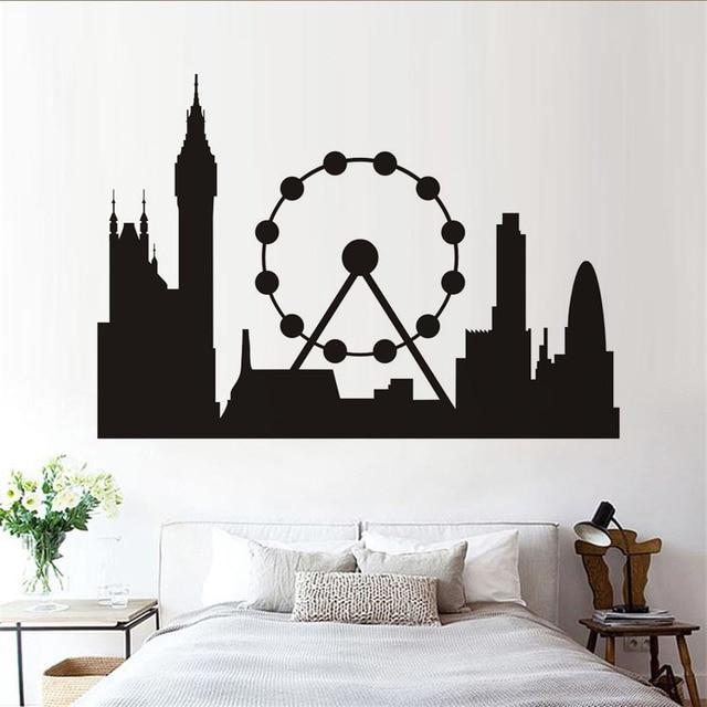 london landmark ferris wheel silhouette vinyl wall art decals living