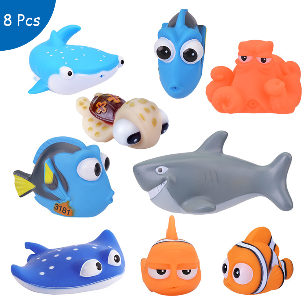 Baby Bath Toys Finding Nemo Dory Float Spray Water Squeeze Toys Soft Rubber Bathroom Play Animals Bath Figure Toy for Children rubber pig baby bath toy for kid