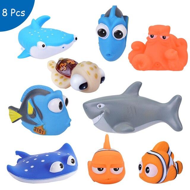 Bebek banyo oyuncakları bulma Nemo Dory şamandıra sprey su sıkmak oyuncaklar yumuşak kauçuk banyo oyun hayvanlar banyo figürü oyuncak çocuk