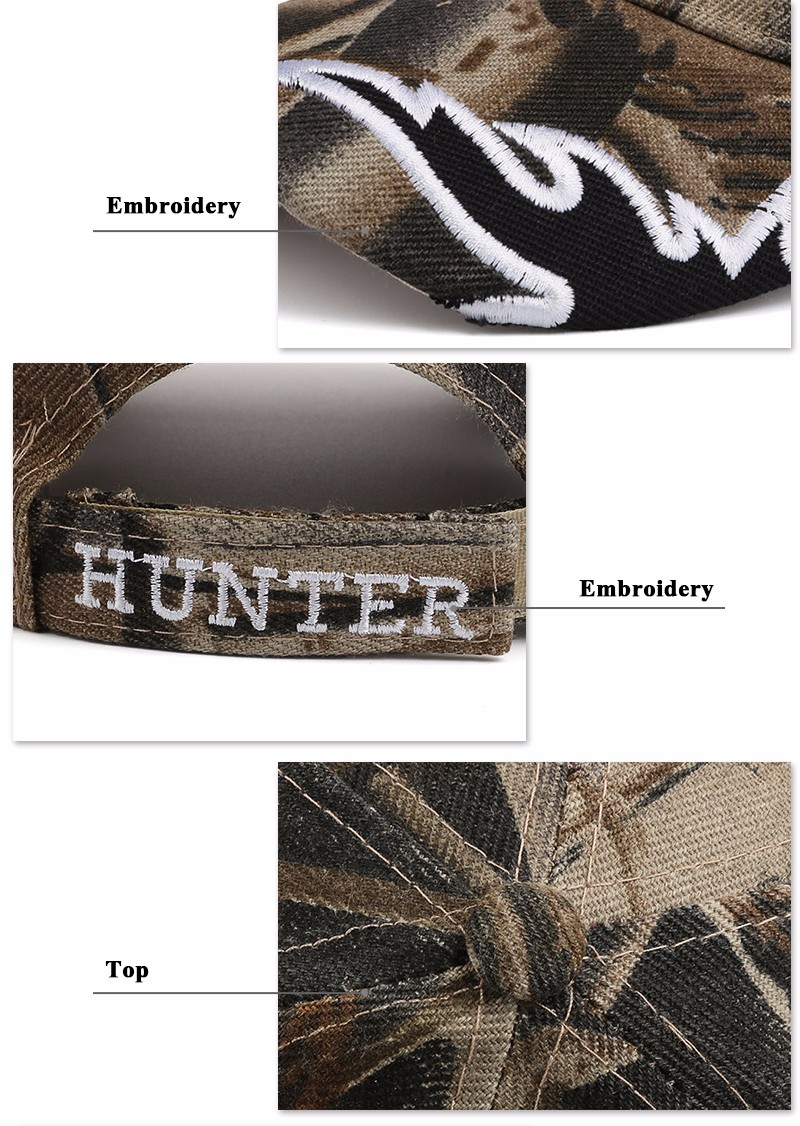 """Deer Hunter"" Embroidered Baseball Cap - Brim, Embroidery on Strap and Button Top Detail Views"