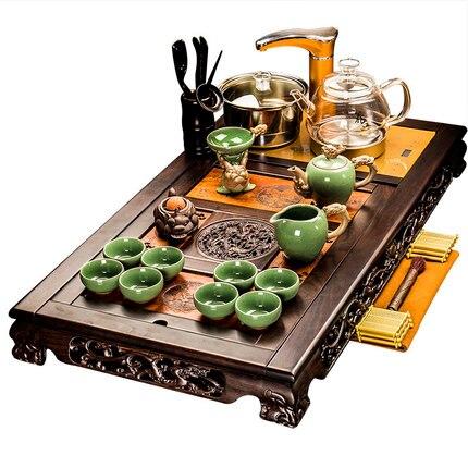 Classical Tea Tray Ebony Solid Wood Tea Set Ceramic Purple Sand Teapot Teacup Set Kung Fu Tea Set Automatic Fast Furnace Home 1