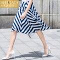 2016 falda de verano ropa de mujer azul y blanco de la raya del bloque del color gasa a-line de la falda mediados de cintura de la falda del busto femenino