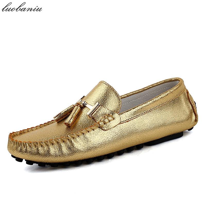 Кисточкой Мужской Обуви Случайные Люди Мокасины Мягкие Кожаные Мокасины Обувь Мужская Квартиры Поскользнуться На Золото Серебро