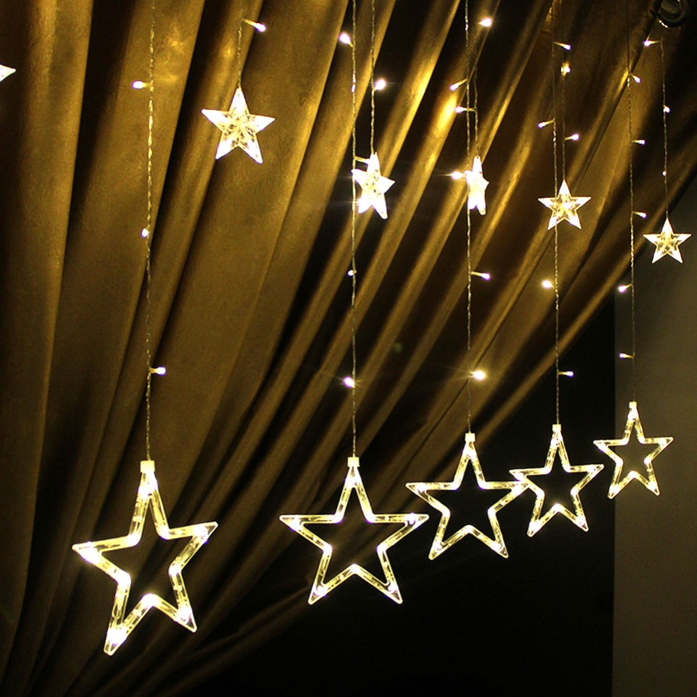 Xmas LED Lights AC 220V Star LED Curtain String Lighting Romantic Fairy Lights For Holiday Christmas Wedding Garland Party Decor 12 leds romantic fairy star led curtain string light warm white eu us 220v xmas garland light for wedding party holiday deco