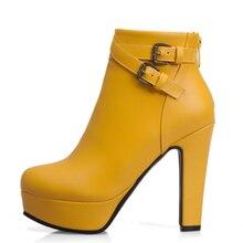 موضة أحذية بوت قصيرة المرأة مثير منصة حذاء من الجلد ل حذاء نسائي بكعب عالٍ أسود أحمر أصفر أبيض أحذية السيدات أحذية حجم كبير 48