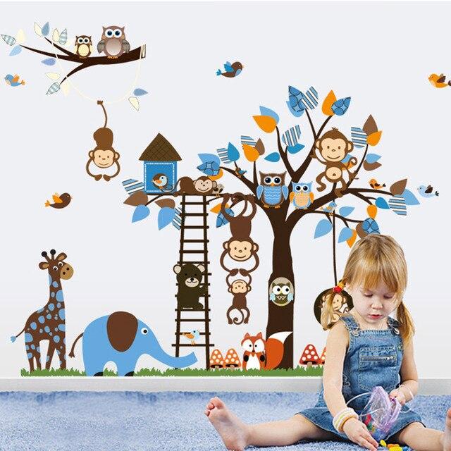 Kindergarten Owl Monkey Squirrel Giraffe Tree Kids Room Cartoon Removable  Mural Home Wall Decals Decor