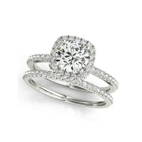 QYI Luxury 1 Carat Big Halo Ring Set 925 Solid Sterling Silver High Setting Round Cut Sona Engagement Wedding Rings