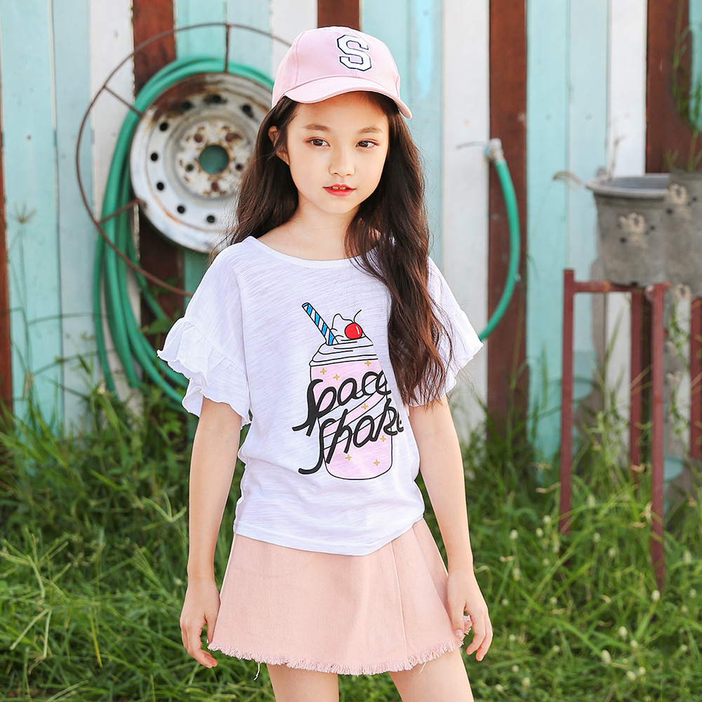 Children's short skirt suit summer new 2018 children's clothing printing new cotton t-shirt with skirt two-piece suit